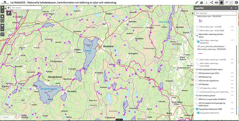 Skärmklipp på en karta som visar kartinformation om kalkning av sjöar och vattendrag.